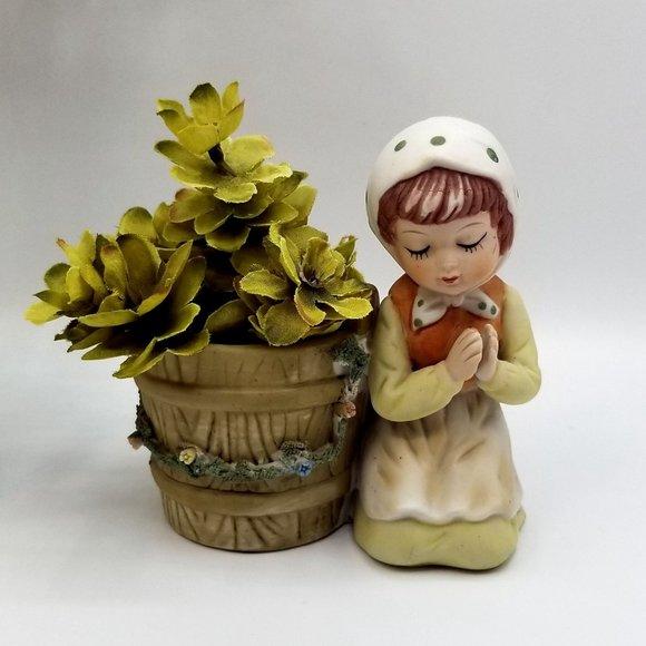 Vintage Enesco Porcelain Praying Child Planter Can